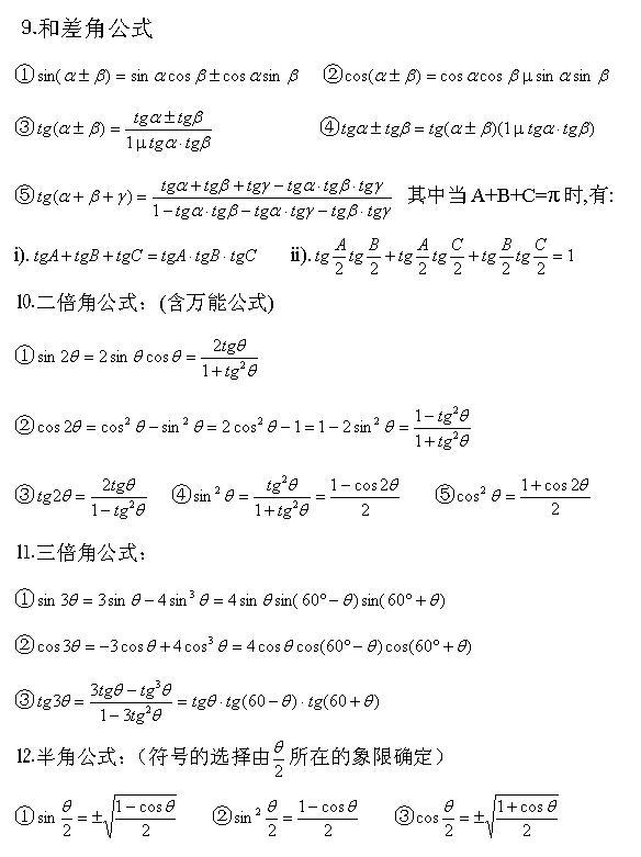 成人高考高起点数学(理)三角公式辅导