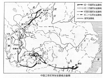 中国工农红军长征路线示意图