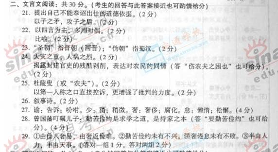 2007成人高考统考专升本《大学语文》参考答案!