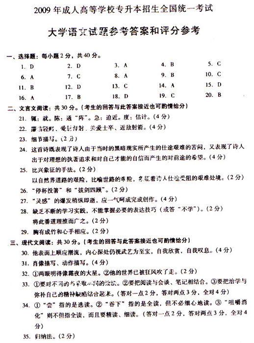 2009年成人高考专升本大学语文参考答案