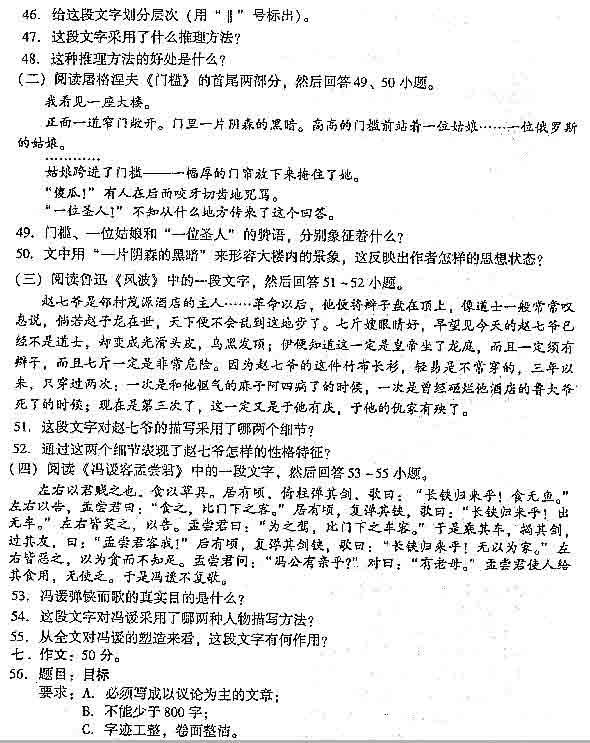 2004年成人高考大学语文试题!