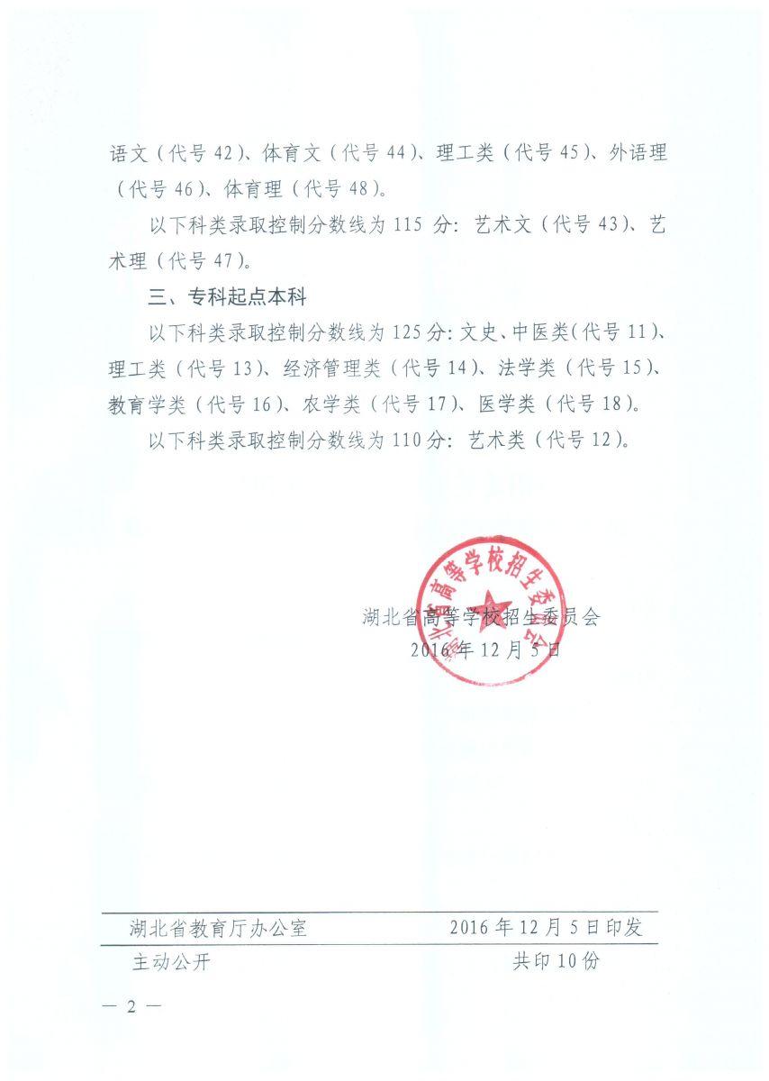省招委关于印发湖北省2016年成人高等学校招生录取控制分数线的通知