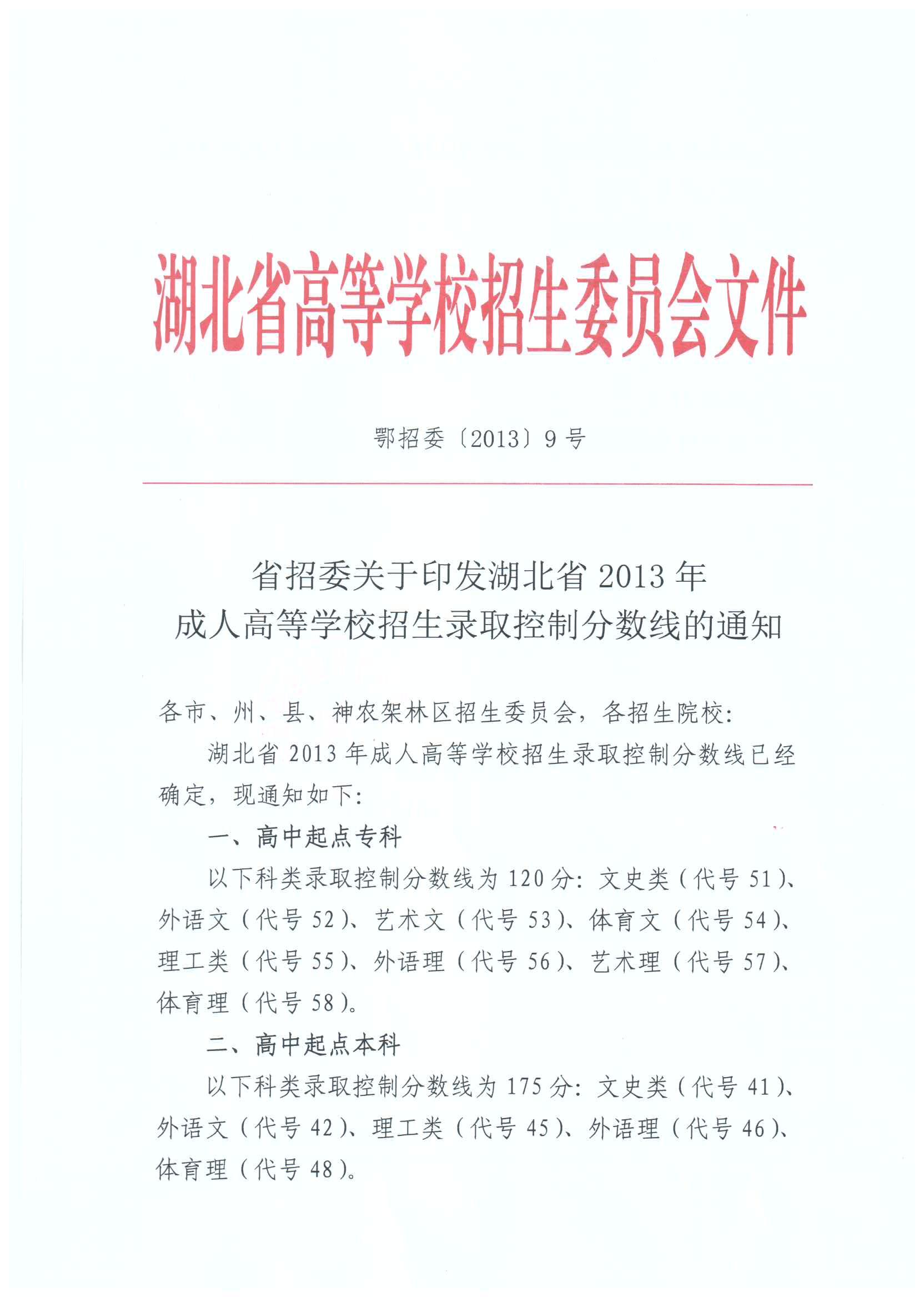 省招委关于印发湖北省2013年成人高等学校招生录取控制分数线的通知