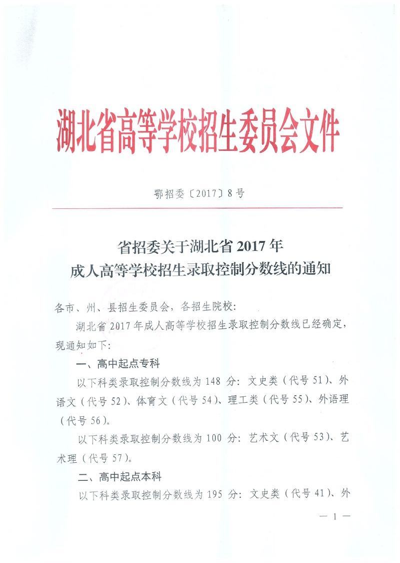 湖北省2017年成人高考录取分数线