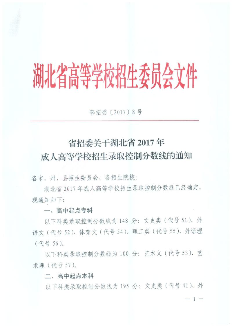 关于长江大学 湖北2017年成考录取分数线